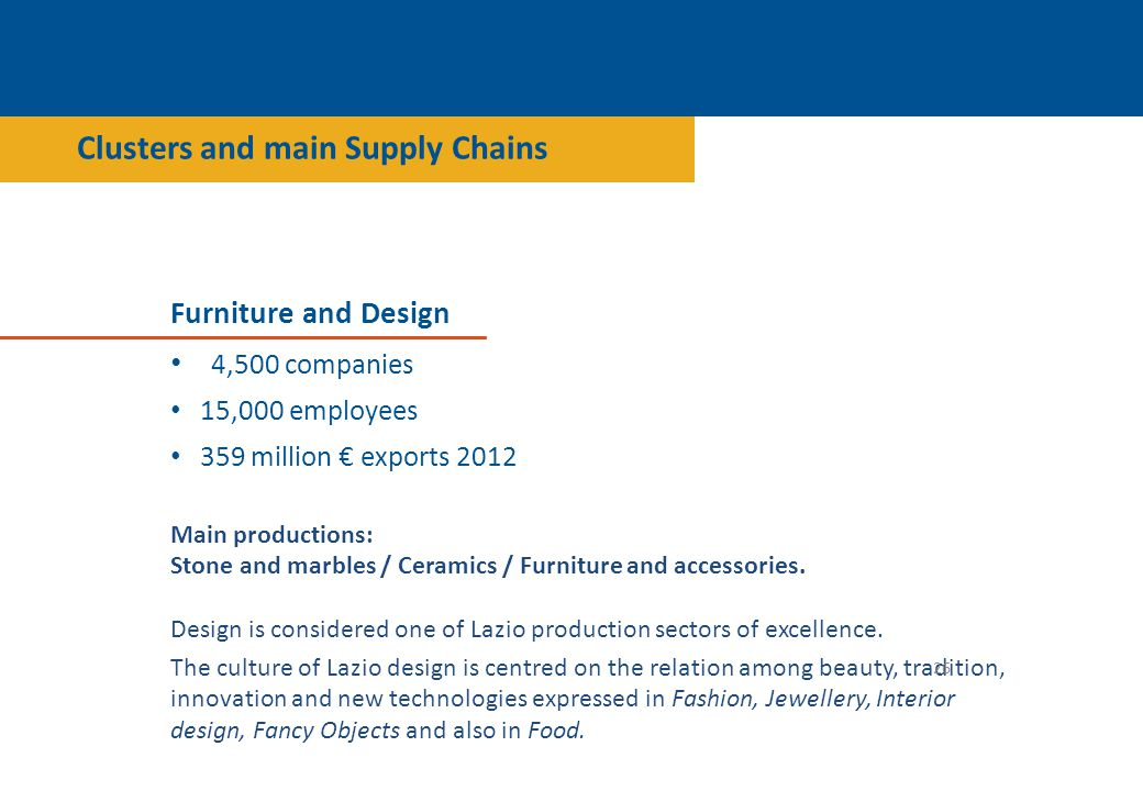 Furniture and Design 4,500 companies 15,000 employees 359 million € exports 2012 Main productions: Stone and marbles / Ceramics / Furniture and accessories.