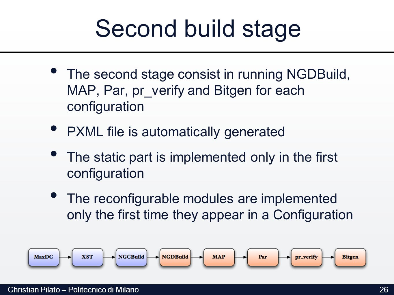 Christian Pilato – Politecnico di Milano26 Second build stage The second stage consist in running NGDBuild, MAP, Par, pr_verify and Bitgen for each configuration PXML file is automatically generated The static part is implemented only in the first configuration The reconfigurable modules are implemented only the first time they appear in a Configuration