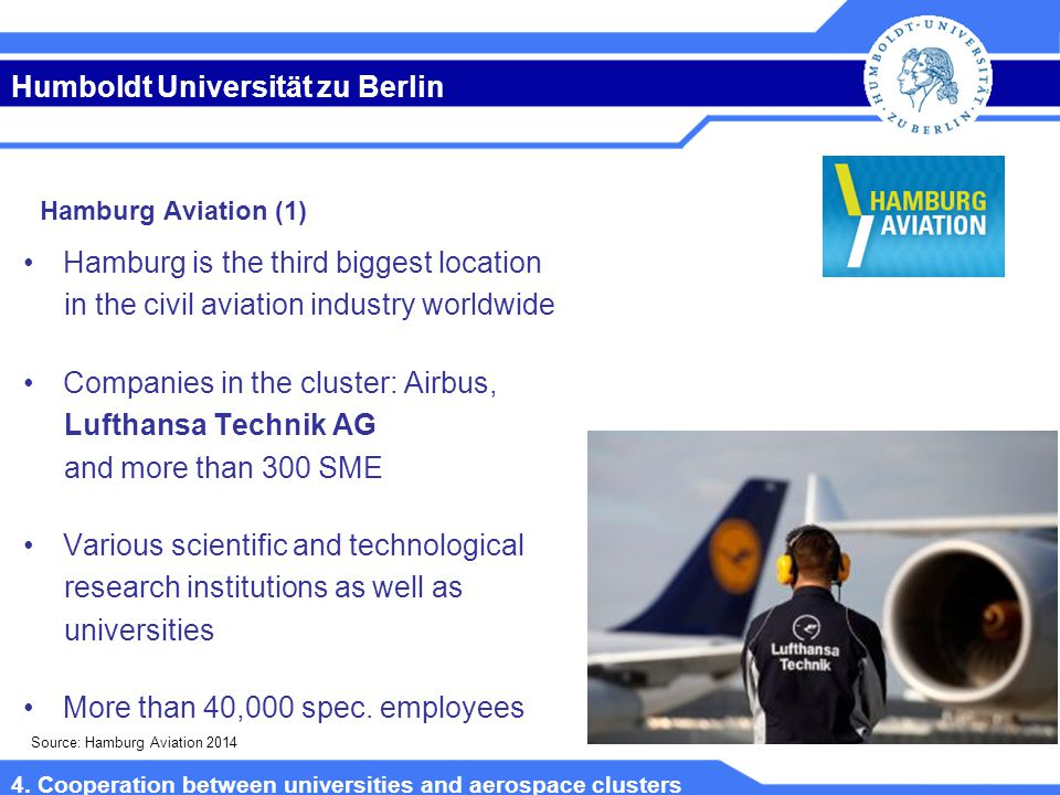Humboldt Universität zu Berlin Hamburg is the third biggest location in the civil aviation industry worldwide Companies in the cluster: Airbus, Lufthansa Technik AG and more than 300 SME Various scientific and technological research institutions as well as universities More than 40,000 spec.