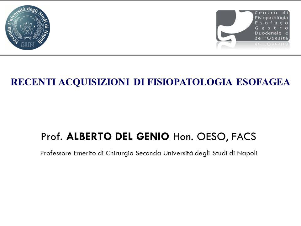 Prof. ALBERTO DEL GENIO Hon. OESO, FACS Professore Emerito di Chirurgia Seconda Università degli Studi di Napoli RECENTI ACQUISIZIONI DI FISIOPATOLOGI