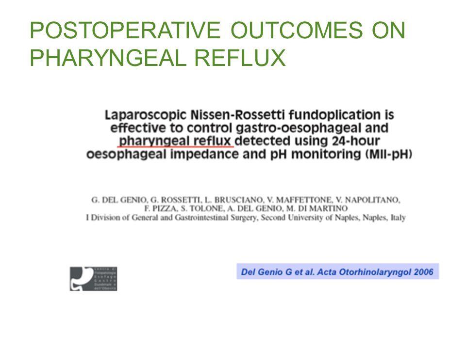 POSTOPERATIVE OUTCOMES ON PHARYNGEAL REFLUX