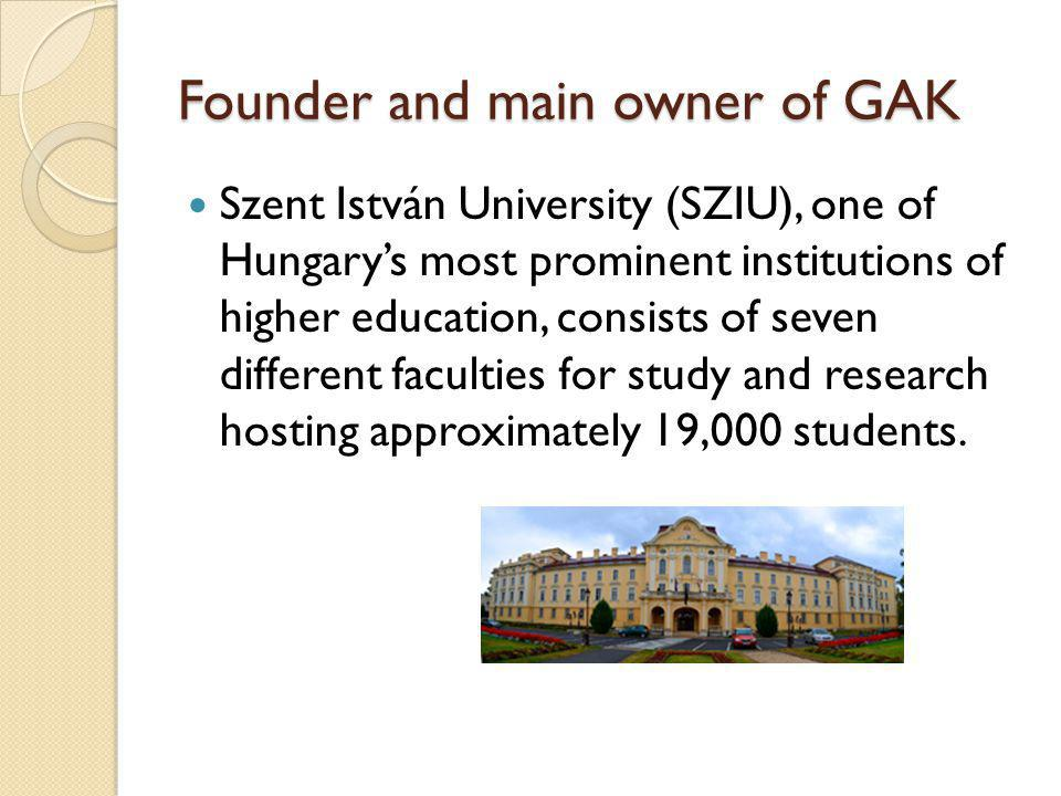 Founder and main owner of GAK Szent István University (SZIU), one of Hungary's most prominent institutions of higher education, consists of seven different faculties for study and research hosting approximately 19,000 students.