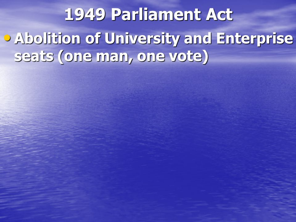 1911 Parliament Act Maximum duration of Parliament 5 years Maximum duration of Parliament 5 years Removal of right of veto for Lords to any public leg