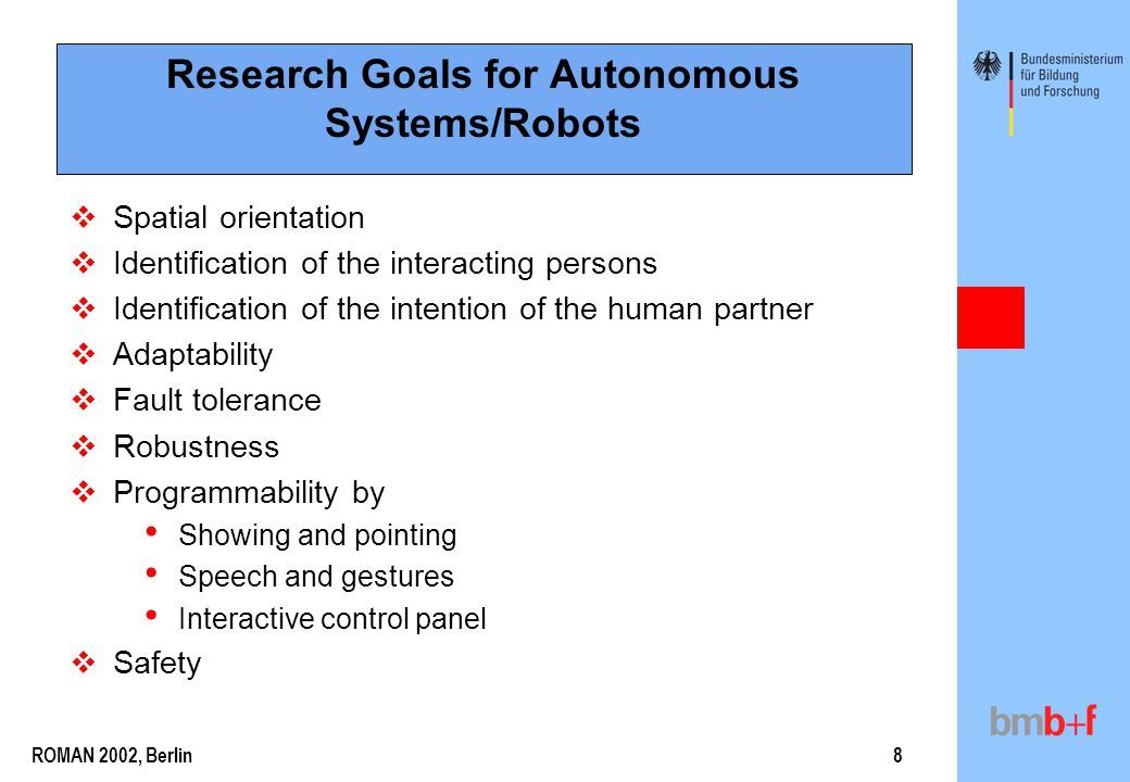 ROMAN 2002, Berlin8 Research Goals for Autonomous Systems/Robots  Spatial orientation  Identification of the interacting persons  Identification of