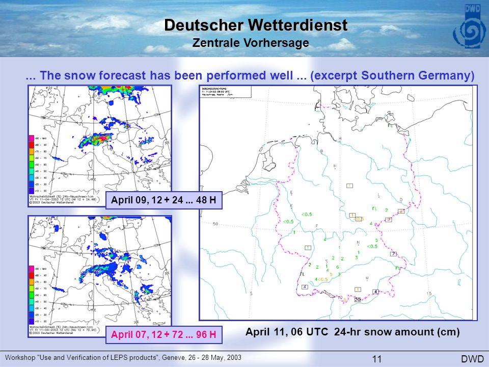 Deutscher Wetterdienst Zentrale Vorhersage DWD Workshop Use and Verification of LEPS products , Geneve, 26 - 28 May, 2003 11...