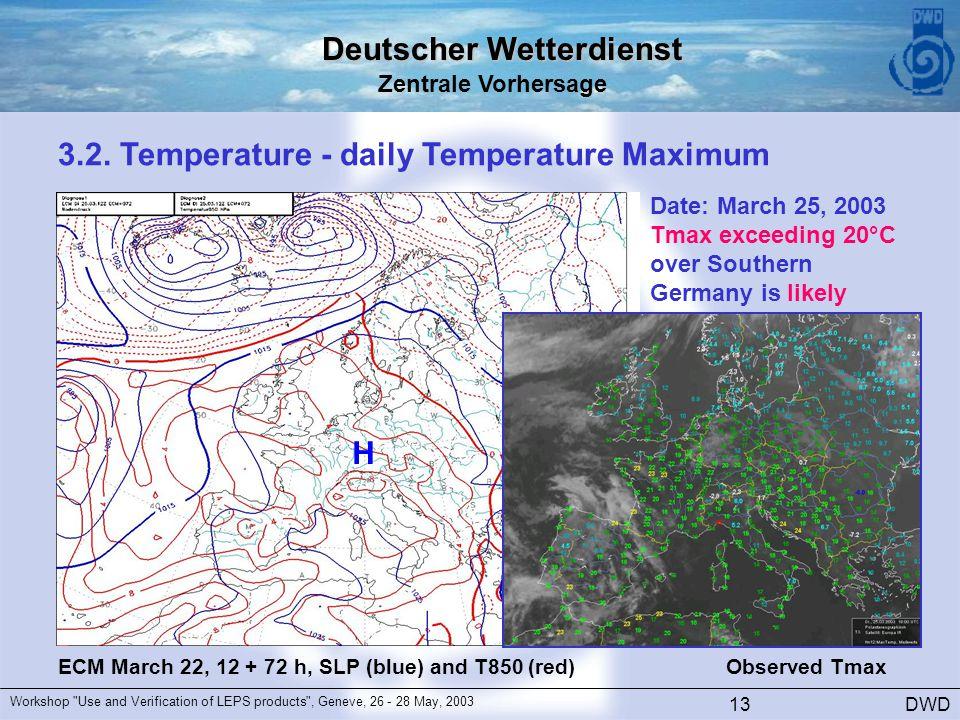Deutscher Wetterdienst Zentrale Vorhersage DWD Workshop Use and Verification of LEPS products , Geneve, 26 - 28 May, 2003 13 3.2.