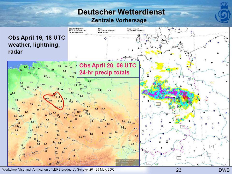 Deutscher Wetterdienst Zentrale Vorhersage DWD Workshop Use and Verification of LEPS products , Geneve, 26 - 28 May, 2003 23 Obs April 19, 18 UTC weather, lightning, radar Obs April 20, 06 UTC 24-hr precip totals