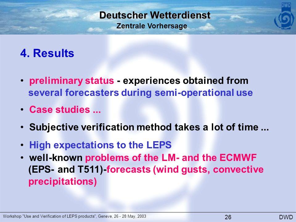 Deutscher Wetterdienst Zentrale Vorhersage DWD Workshop Use and Verification of LEPS products , Geneve, 26 - 28 May, 2003 26 4.