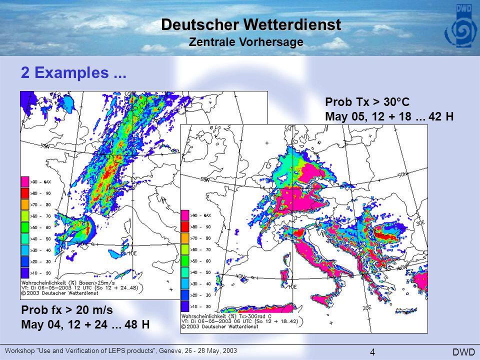 Deutscher Wetterdienst Zentrale Vorhersage DWD Workshop Use and Verification of LEPS products , Geneve, 26 - 28 May, 2003 4 2 Examples...