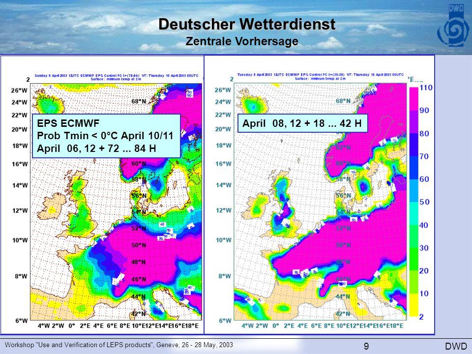 Deutscher Wetterdienst Zentrale Vorhersage DWD Workshop Use and Verification of LEPS products , Geneve, 26 - 28 May, 2003 9 EPS ECMWF Prob Tmin < 0°C April 10/11 April 06, 12 + 72...