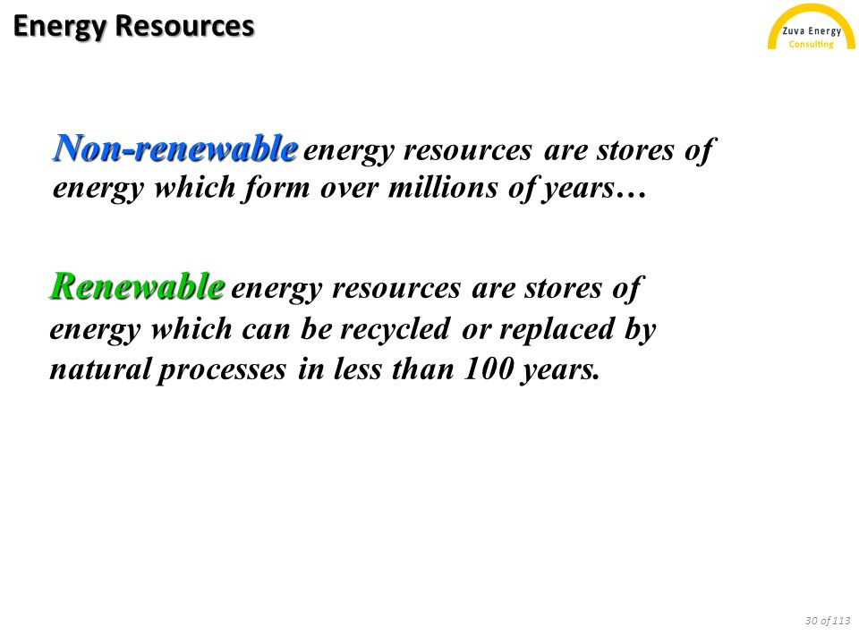 Energy Resources Non-renewable Non-renewable energy resources are stores of energy which form over millions of years… Renewable Renewable energy resou