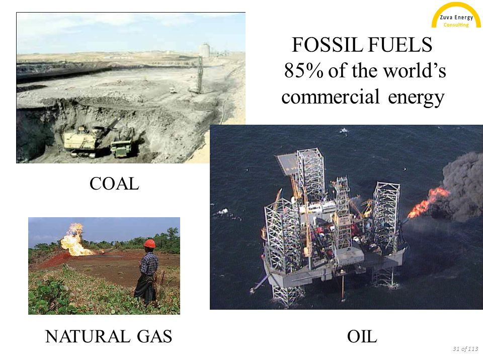 FOSSIL FUELS 85% of the world's commercial energy COAL OILNATURAL GAS 31 of 113
