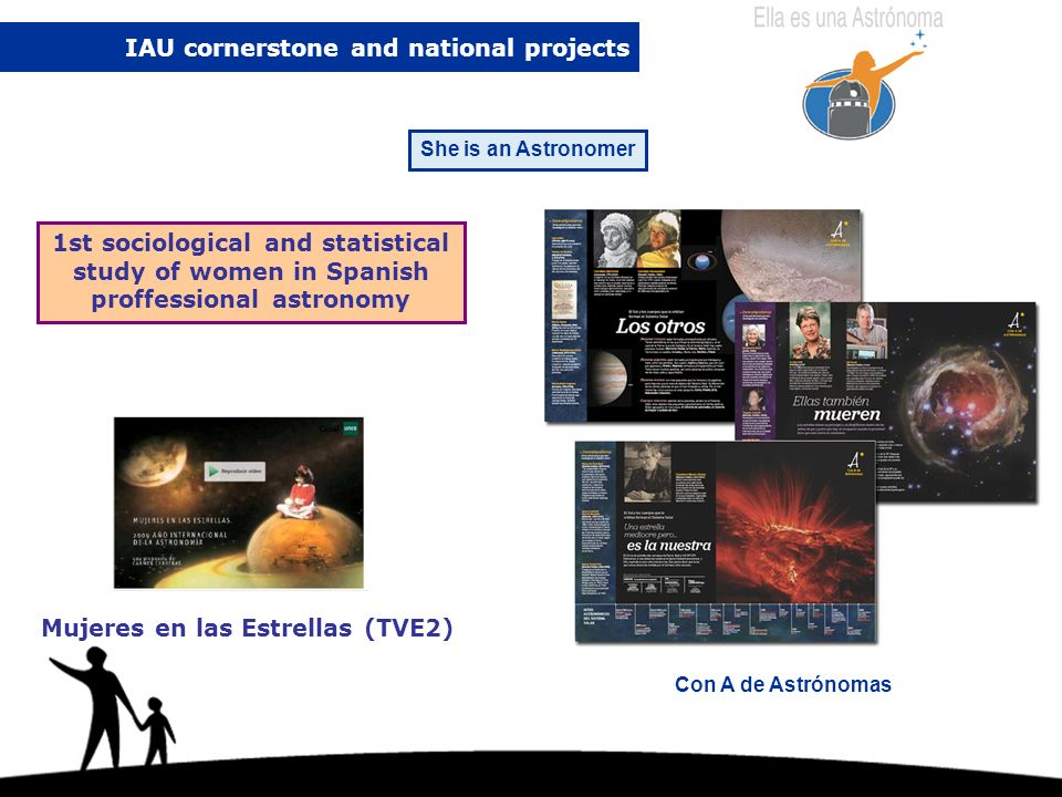 IAU cornerstone and national projects She is an Astronomer Con A de Astrónomas 1st sociological and statistical study of women in Spanish proffessional astronomy Mujeres en las Estrellas (TVE2)