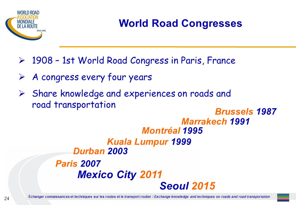 Échanger connaissances et techniques sur les routes et le transport routier / Exchange knowledge and techniques on roads and road transportation 24 World Road Congresses 1908 – 1st World Road Congress in Paris, France A congress every four years Share knowledge and experiences on roads and road transportation Brussels 1987 Marrakech 1991 Montréal 1995 Kuala Lumpur 1999 Durban 2003 Paris 2007 Mexico City 2011 Seoul 2015