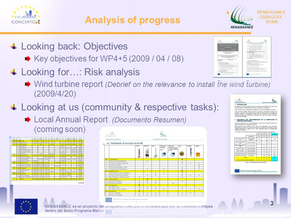 RENAISSANCE es un proyecto del programa CONCERTO co-financiado por la Comisión Europea dentro del Sexto Programa Marco RENAISSANCE - ZARAGOZA - SPAIN Analysis of progress Looking back: Objectives Key objectives for WP4+5 (2009 / 04 / 08) Looking for…: Risk analysis Wind turbine report (Debrief on the relevance to install the wind turbine) (2009/4/20) Looking at us (community & respective tasks): Local Annual Report (Documento Resumen) (coming soon) 3