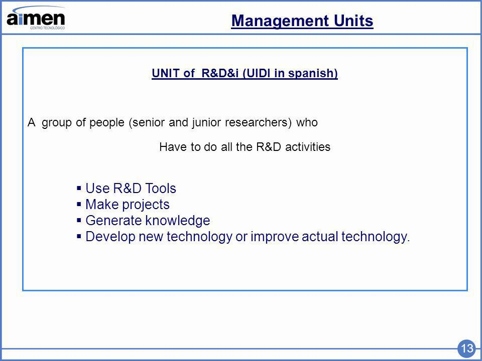 Management Units 13 UNIT of R&D&i (UIDI in spanish) A group of people (senior and junior researchers) who Have to do all the R&D activities Use R&D Tools Make projects Generate knowledge Develop new technology or improve actual technology.