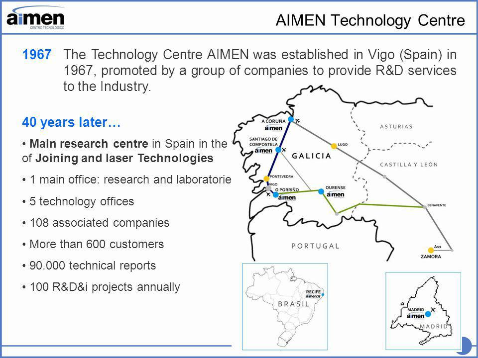 2 The Technology Centre AIMEN was established in Vigo (Spain) in 1967, promoted by a group of companies to provide R&D services to the Industry.
