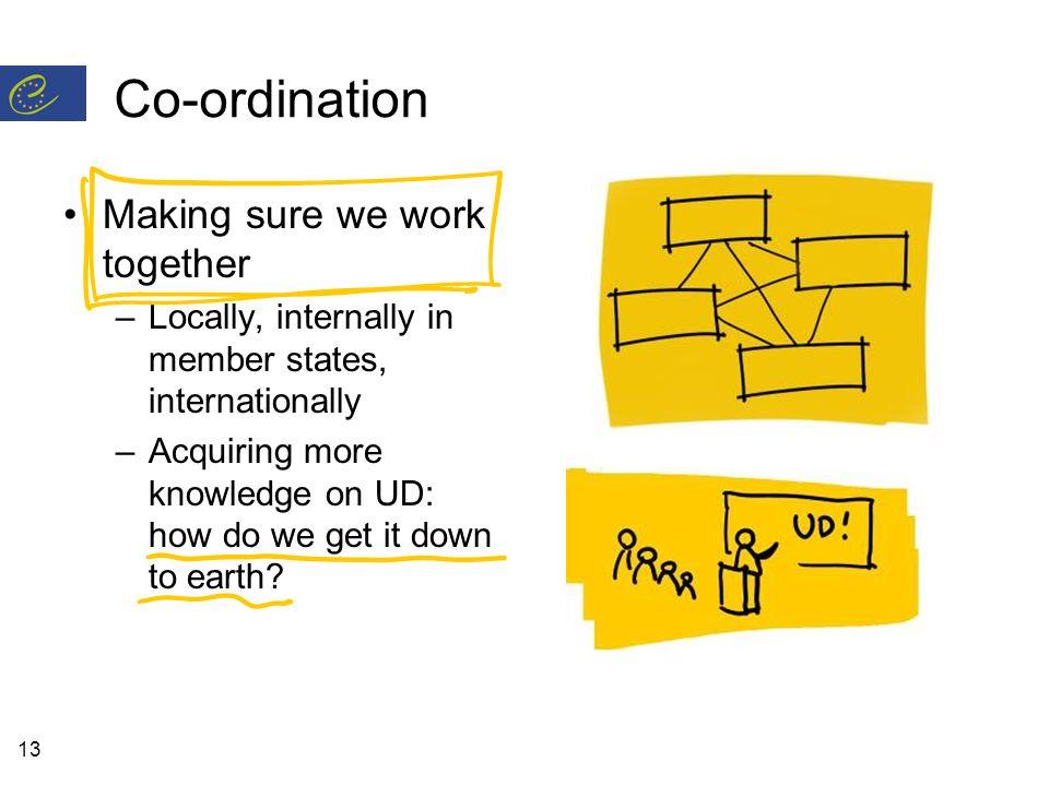 13 Co-ordination Making sure we work together –Locally, internally in member states, internationally –Acquiring more knowledge on UD: how do we get it down to earth