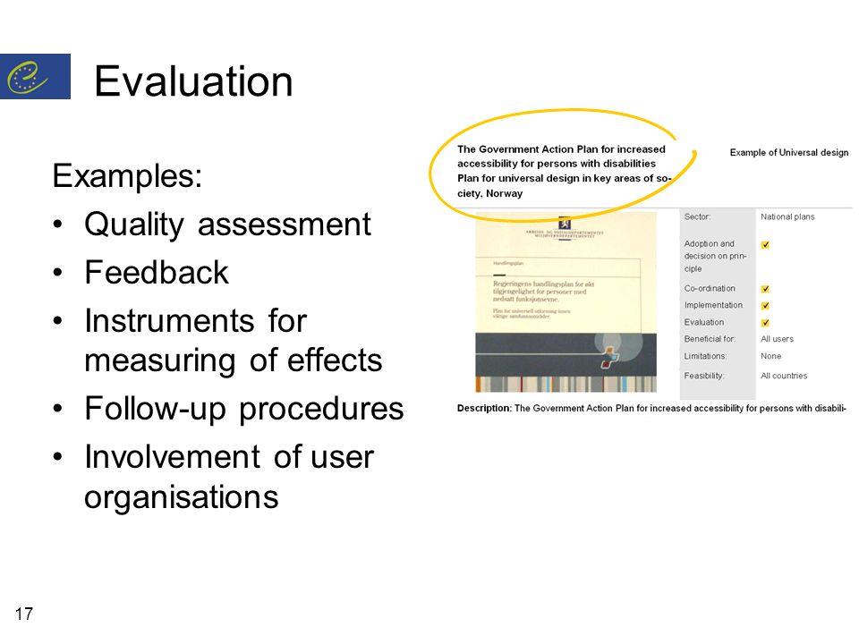 17 Evaluation Examples: Quality assessment Feedback Instruments for measuring of effects Follow-up procedures Involvement of user organisations