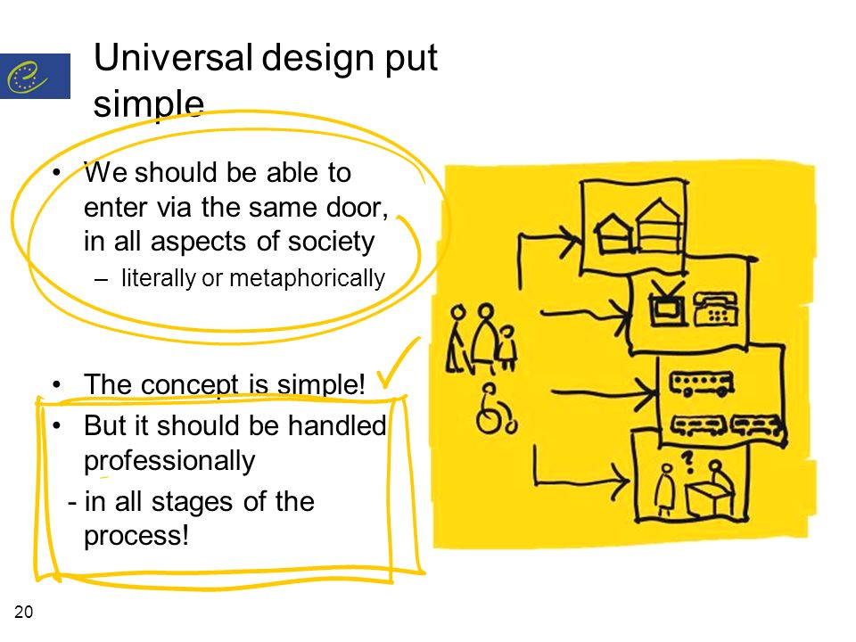20 Universal design put simple We should be able to enter via the same door, in all aspects of society –literally or metaphorically The concept is simple.
