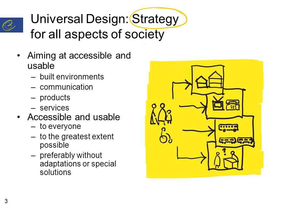 3 Universal Design: Strategy for all aspects of society Aiming at accessible and usable –built environments –communication –products –services Accessible and usable –to everyone –to the greatest extent possible –preferably without adaptations or special solutions