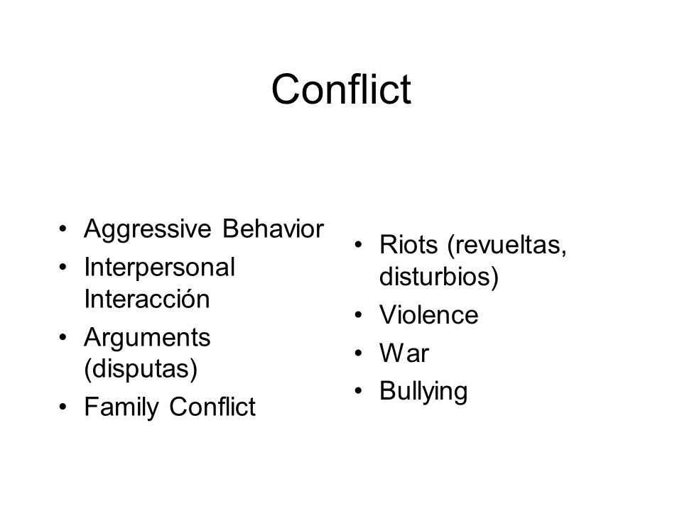 Conflict Aggressive Behavior Interpersonal Interacción Arguments (disputas) Family Conflict Riots (revueltas, disturbios) Violence War Bullying