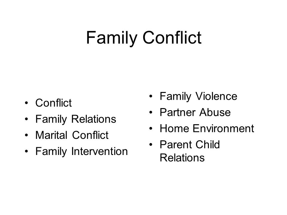 Family Conflict Conflict Family Relations Marital Conflict Family Intervention Family Violence Partner Abuse Home Environment Parent Child Relations