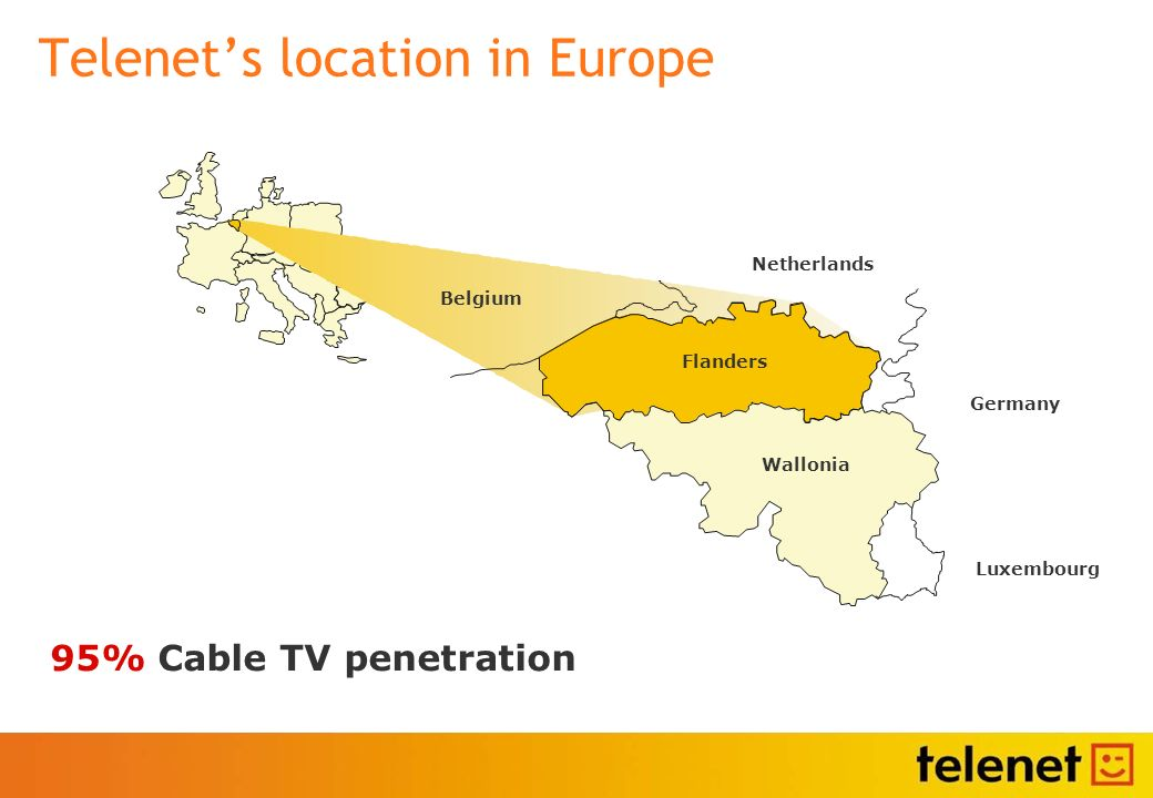 Telenets location in Europe 95% Cable TV penetration
