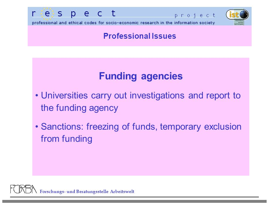 Forschungs- und Beratungsstelle Arbeitswelt Professional Issues Funding agencies Universities carry out investigations and report to the funding agency Sanctions: freezing of funds, temporary exclusion from funding