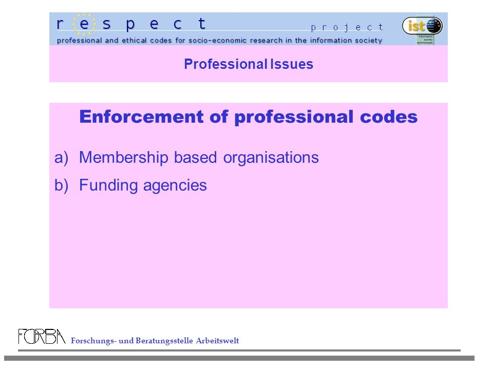 Forschungs- und Beratungsstelle Arbeitswelt Professional Issues Enforcement of professional codes a)Membership based organisations b)Funding agencies