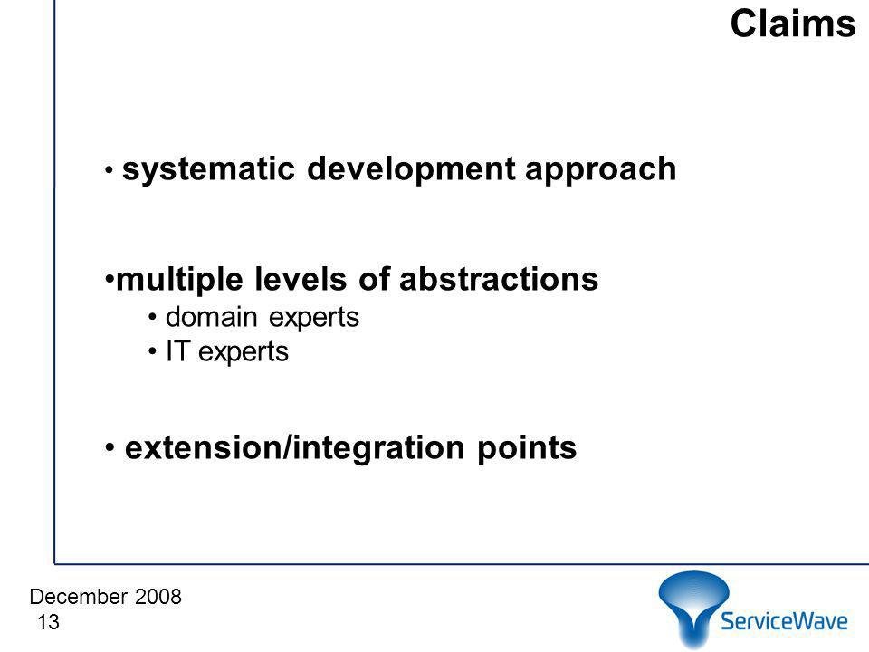 December 2008 Claims 13 systematic development approach multiple levels of abstractions domain experts IT experts extension/integration points