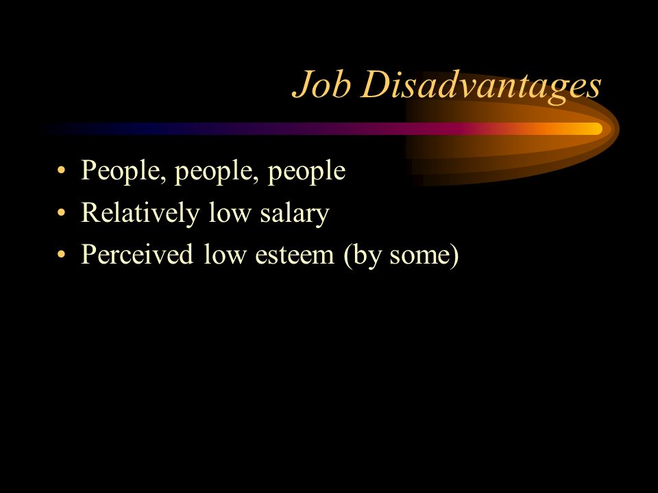 Job Disadvantages People, people, people Relatively low salary Perceived low esteem (by some)