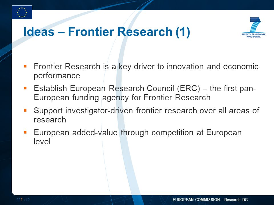 FP7 /19 EUROPEAN COMMISSION – Research DG Ideas – Frontier Research (1) Frontier Research is a key driver to innovation and economic performance Establish European Research Council (ERC) – the first pan- European funding agency for Frontier Research Support investigator-driven frontier research over all areas of research European added-value through competition at European level