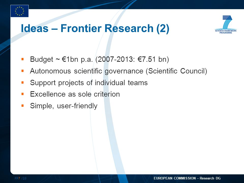 FP7 /20 EUROPEAN COMMISSION – Research DG Ideas – Frontier Research (2) Budget ~ 1bn p.a.