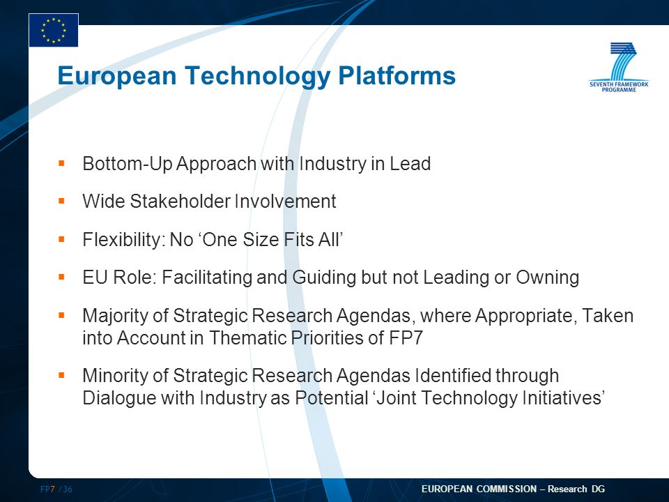 FP7 /36 EUROPEAN COMMISSION – Research DG European Technology Platforms Bottom-Up Approach with Industry in Lead Wide Stakeholder Involvement Flexibility: No One Size Fits All EU Role: Facilitating and Guiding but not Leading or Owning Majority of Strategic Research Agendas, where Appropriate, Taken into Account in Thematic Priorities of FP7 Minority of Strategic Research Agendas Identified through Dialogue with Industry as Potential Joint Technology Initiatives