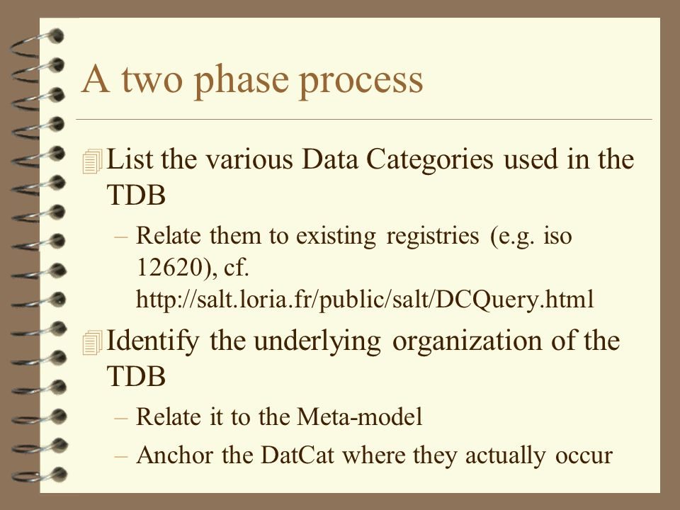 A two phase process 4 List the various Data Categories used in the TDB –Relate them to existing registries (e.g.