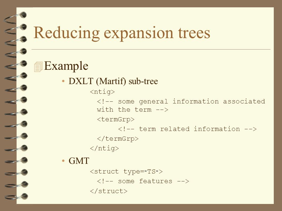 Reducing expansion trees 4 Example DXLT (Martif) sub-tree GMT