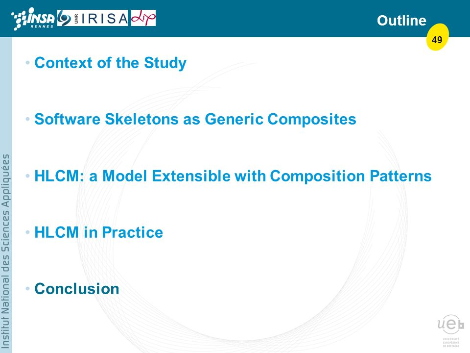 49 Outline Context of the Study Software Skeletons as Generic Composites HLCM: a Model Extensible with Composition Patterns HLCM in Practice Conclusion