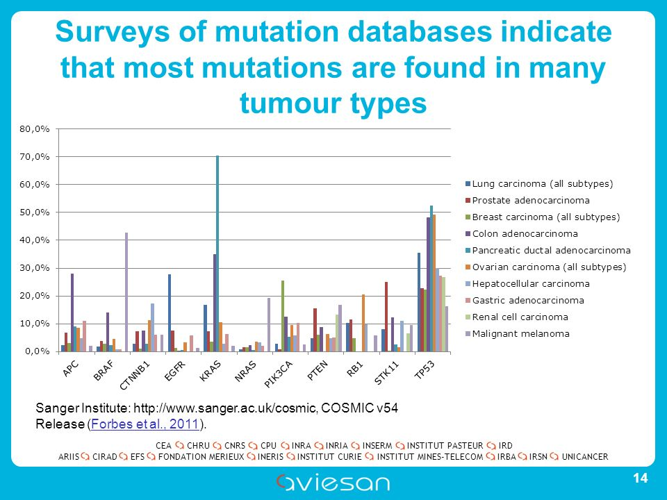 CEACHRUCNRSCPUINRAINRIAINSERMINSTITUT PASTEURIRD ARIISEFSINERISINSTITUT CURIEINSTITUT MINES-TELECOMUNICANCERIRBAIRSNCIRADFONDATION MERIEUX Surveys of mutation databases indicate that most mutations are found in many tumour types 14 Sanger Institute: http://www.sanger.ac.uk/cosmic, COSMIC v54 Release (Forbes et al., 2011).Forbes et al., 2011