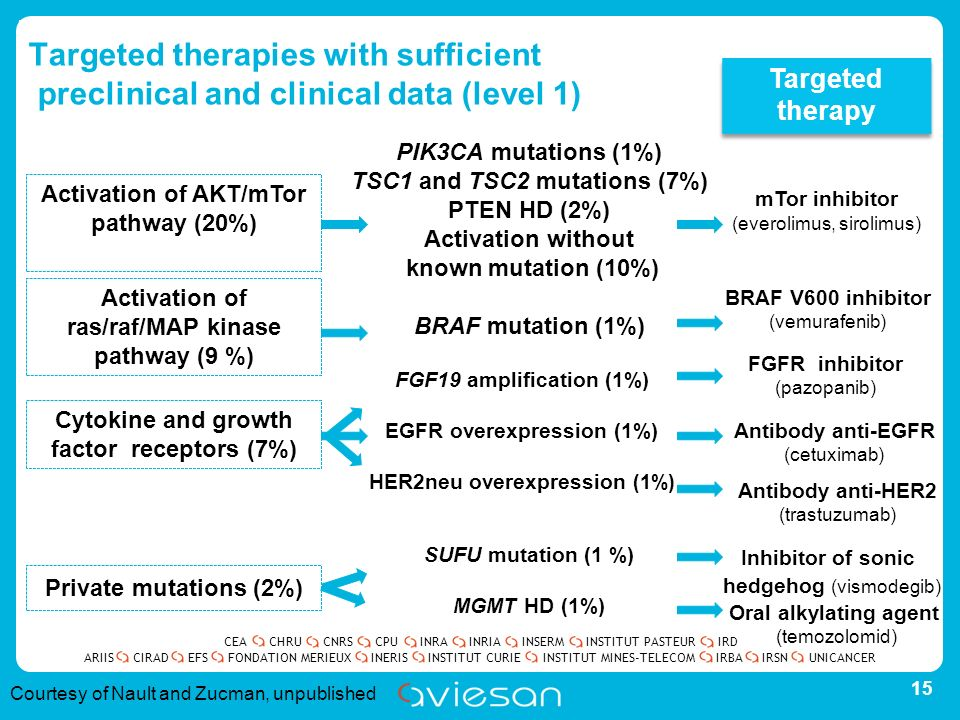 CEACHRUCNRSCPUINRAINRIAINSERMINSTITUT PASTEURIRD ARIISEFSINERISINSTITUT CURIEINSTITUT MINES-TELECOMUNICANCERIRBAIRSNCIRADFONDATION MERIEUX Targeted therapies with sufficient preclinical and clinical data (level 1) 15 Activation of AKT/mTor pathway (20%) Private mutations (2%) Activation of ras/raf/MAP kinase pathway (9 %) Cytokine and growth factor receptors (7%) PIK3CA mutations (1%) TSC1 and TSC2 mutations (7%) PTEN HD (2%) Activation without known mutation (10%) BRAF mutation (1%) FGF19 amplification (1%) EGFR overexpression (1%) HER2neu overexpression (1%) SUFU mutation (1 %) MGMT HD (1%) Targeted therapy mTor inhibitor (everolimus, sirolimus) BRAF V600 inhibitor (vemurafenib) FGFR inhibitor (pazopanib) Antibody anti-EGFR (cetuximab) Antibody anti-HER2 (trastuzumab) Inhibitor of sonic hedgehog (vismodegib) Oral alkylating agent (temozolomid) Courtesy of Nault and Zucman, unpublished