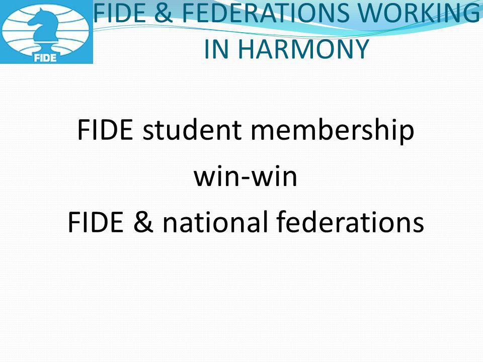 FIDE & FEDERATIONS WORKING IN HARMONY FIDE student membership win-win FIDE & national federations