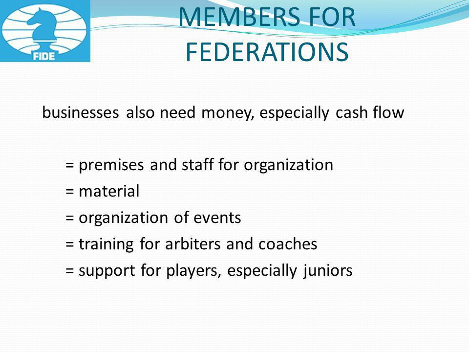 businesses also need money, especially cash flow = premises and staff for organization = material = organization of events = training for arbiters and coaches = support for players, especially juniors MEMBERS FOR FEDERATIONS