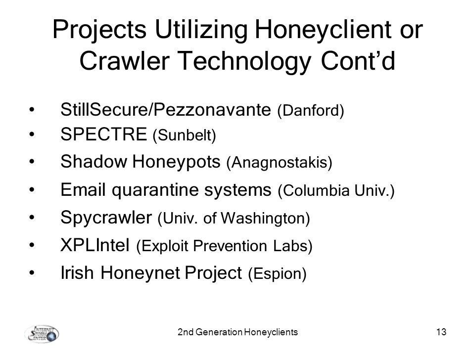 2nd Generation Honeyclients13 Projects Utilizing Honeyclient or Crawler Technology Contd StillSecure/Pezzonavante (Danford) SPECTRE (Sunbelt) Shadow Honeypots (Anagnostakis) Email quarantine systems (Columbia Univ.) Spycrawler (Univ.