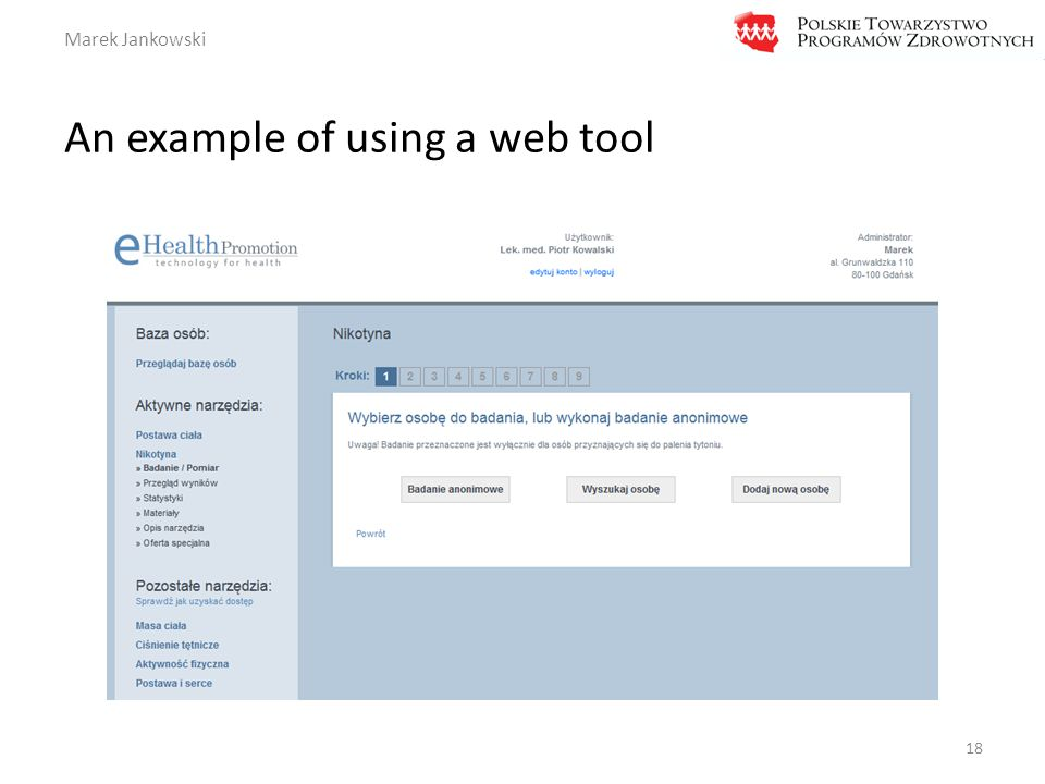 Marek Jankowski An example of using a web tool 18