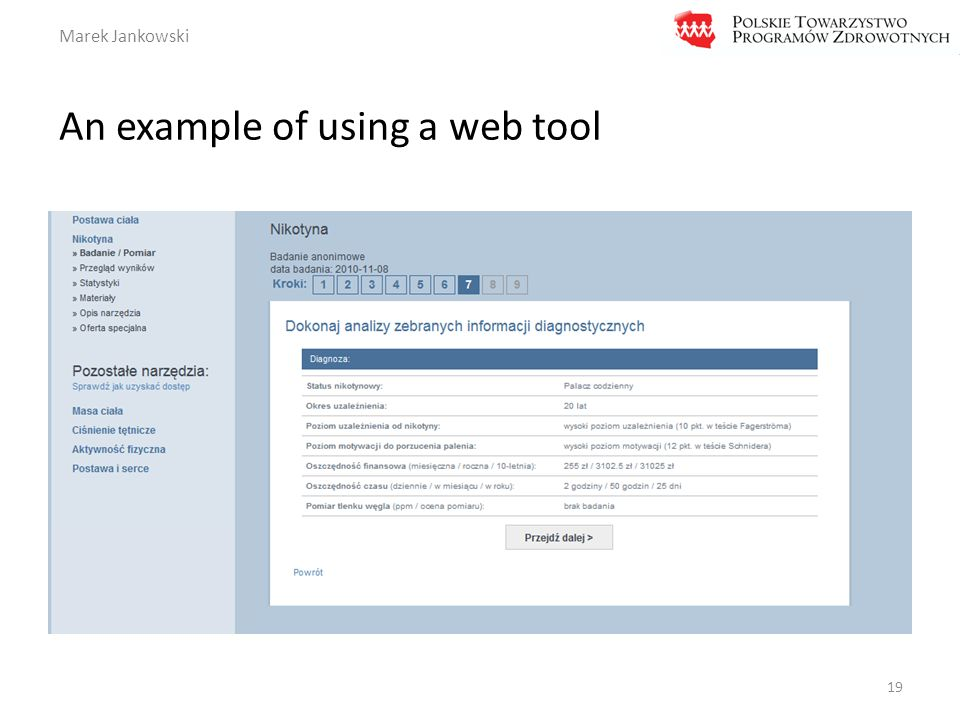Marek Jankowski An example of using a web tool 19