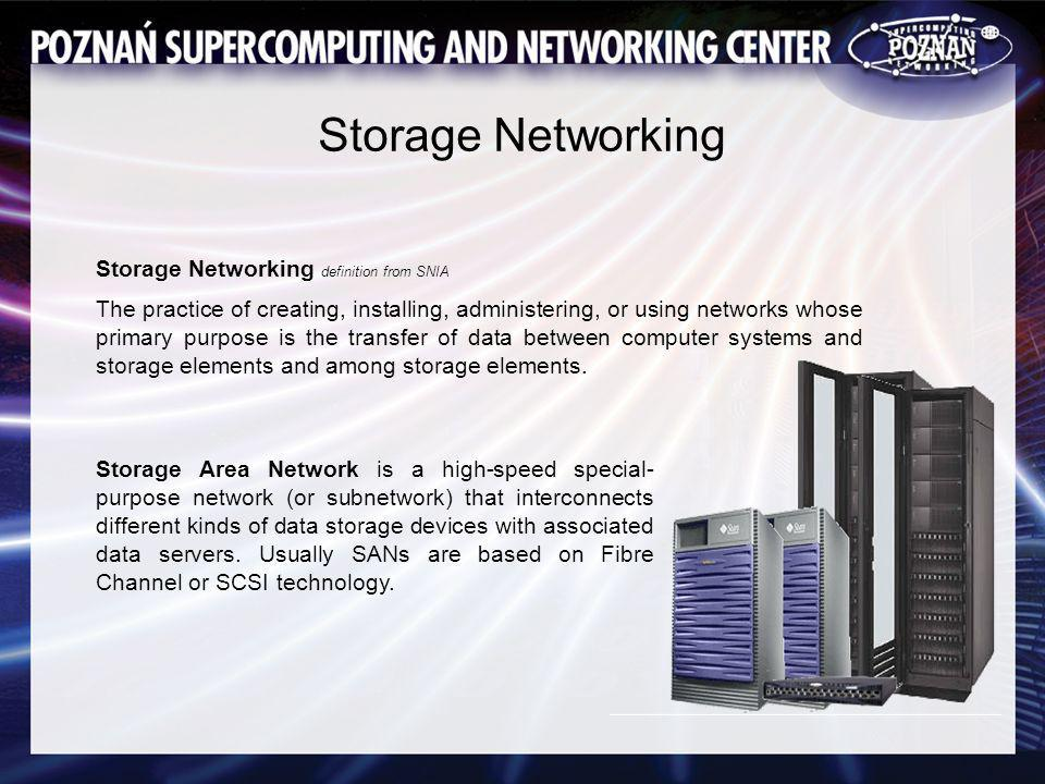 Storage Networking Storage Area Network is a high-speed special- purpose network (or subnetwork) that interconnects different kinds of data storage devices with associated data servers.