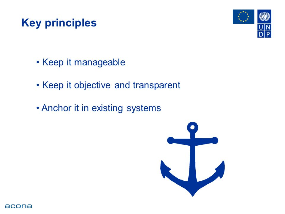 Key principles Keep it manageable Keep it objective and transparent Anchor it in existing systems