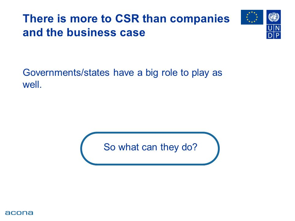 There is more to CSR than companies and the business case Governments/states have a big role to play as well.