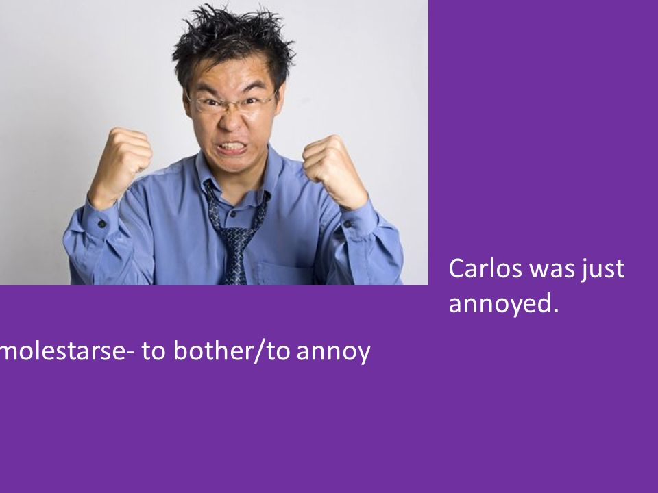 molestarse- to bother/to annoy Carlos was just annoyed.