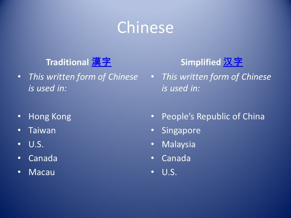 Chinese Traditional This written form of Chinese is used in: Hong Kong Taiwan U.S.